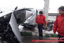 تصویر برخورد هفت دستگاه خودرو سواری در اتوبان پاسداران تبریز، ۳ مصدوم برجای گذاشت