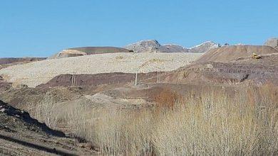 تصویر رانش درسد باطله معدن انجرد اهر ونشت موادمعدنی شیمیایی به رودخانه