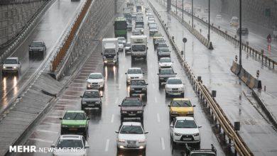 تصویر وضعیت ترافیکی راههای کشور/ ۱۰ محور بارانی است